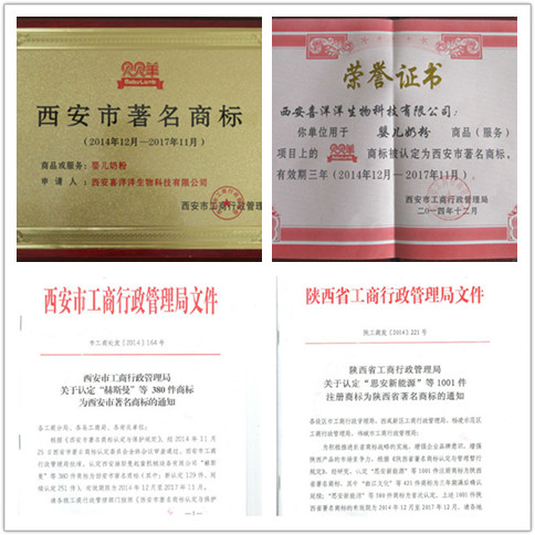 洋洋旗下品牌 贝贝羊 商标荣获陕西省著名商标以及西安市著名商标图片